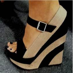 New Arrival Comfortable Wedge Heel Brown Coppy Leather Sandals