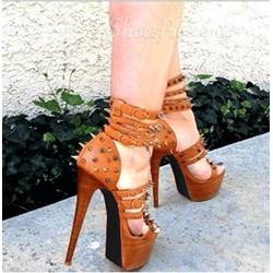 Chic Brown Coppy Leather Amazing Rivets Decoration High Heel Sandals