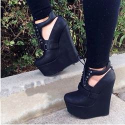Comfortable Wedge Heel Black Coppy Leather High Heel Sandals