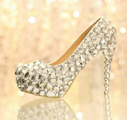 Charming Crystal Closed Toe Stiletto Heel Wedding Shoes