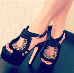 Sexy Leopard Grain Suede Thick Platform High Heel Shoes
