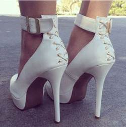 New Arrival White Coppy Ankle Strap Platform High Heel Shoes