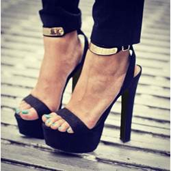 New Arrival Black Suede Ankle Strap Rinestone Decoration High Heel Sandals