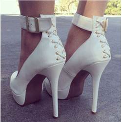 New Arrival White Coppy Leather Ankle Strap Platform High Heel Shoes