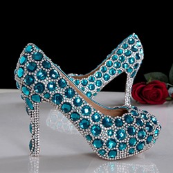 Fashion Extravagant Blue Crystal Prom Shoes
