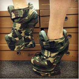 New Arrival Contrast Colour Coppy Leather Wedge Heel Boots