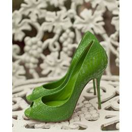 New Arrival Green Coppy Leather Peep Toe High Heel Shoes