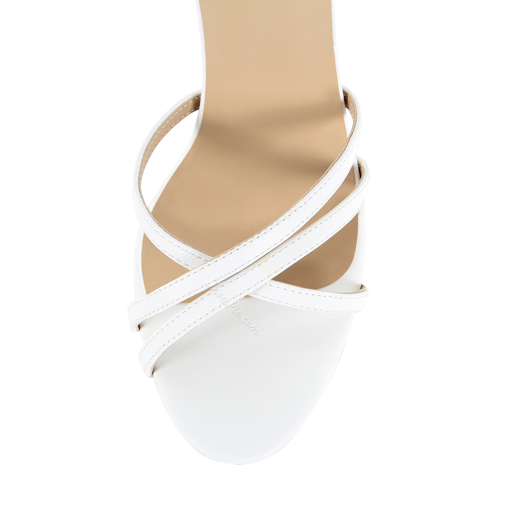 New Arrival White Coppy Leather Cut-Outs Ankle Strap High Heel Sandals