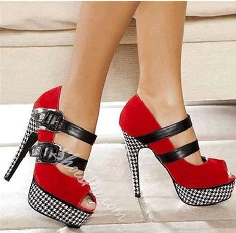 New Arrival Red & Black Contrast Colour Suede Platform High Heel Shoes