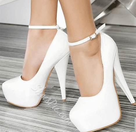 Elegant White Copy Leather Ankle Strap Platform Heels- Shoespie.com