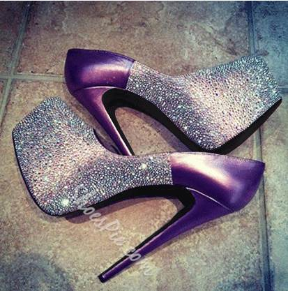 Gorgeous Purple Copy Leather Platform Heels