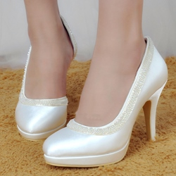 Shoespie Slip-On Stiletto Heel Round Toe Platform Bridal Shoes