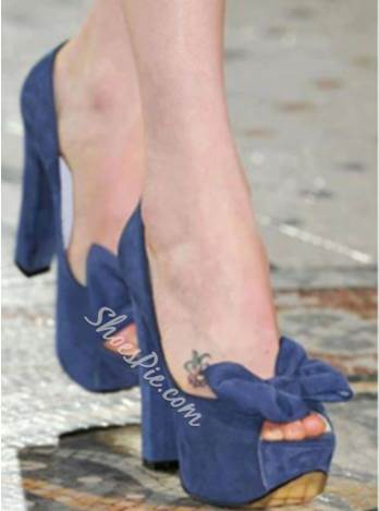 New Arrival Blue Suede Amazing Bowtie High Heel Sandals