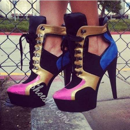 New Arrival Contrast Colour Coppy Leather Platform High Heel Boots