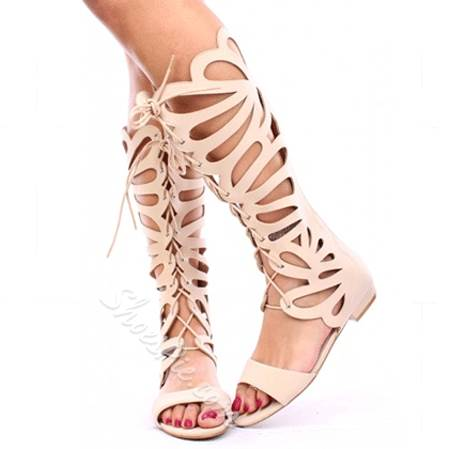 Sexy Butterfly Cut-Outs Knee High Sandals