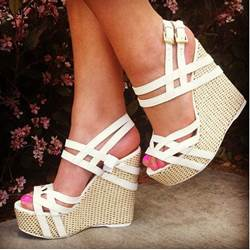 New Arrival White Cooppy Leather Cut-Outs Wedge Heel Sandals