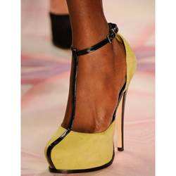New Arrival Yellow Coppy Leather Ankle Strap High Heel Shoes