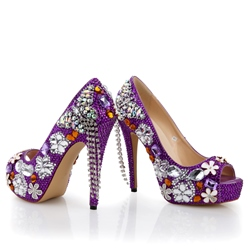 Charming Shinning Beading Rhinestone Bride Shoes