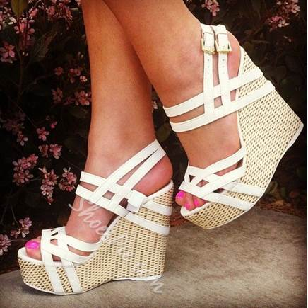 Shoespie White Cooppy Leather Cut-Outs Wedge Heel Sandals