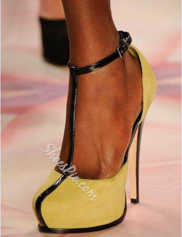 New Arrival Yellow Coppy Ankle Strap High Heel Shoes