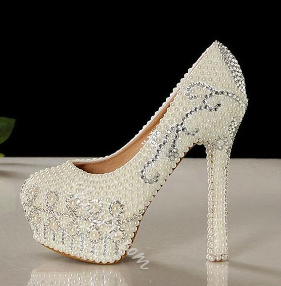 Elegant Pearls Beige High Heel Wedding Shoes