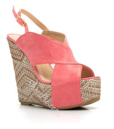 Fashionable Brown Suede Cut-Outs Wedge Heel Sandals