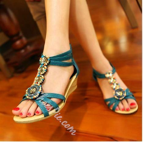 New Arrival Wedge Heel Bohemia Style Sandals