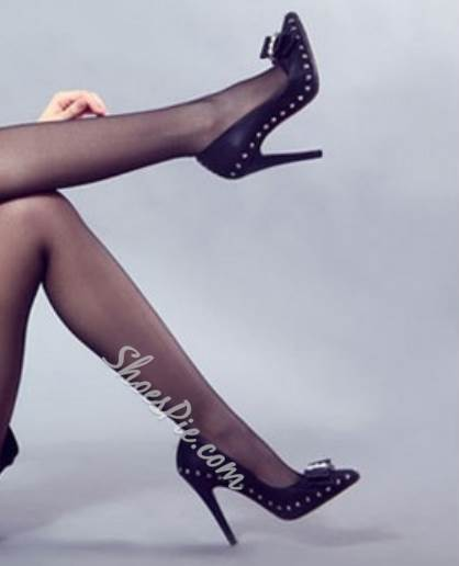 New Arrival Black Coppy Leather Stiletto Heel Shoes
