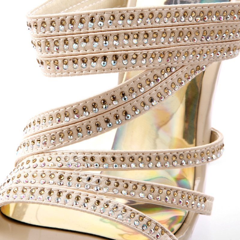 Attractive PU Upper Stiletto Heel Rhinestone Sandals