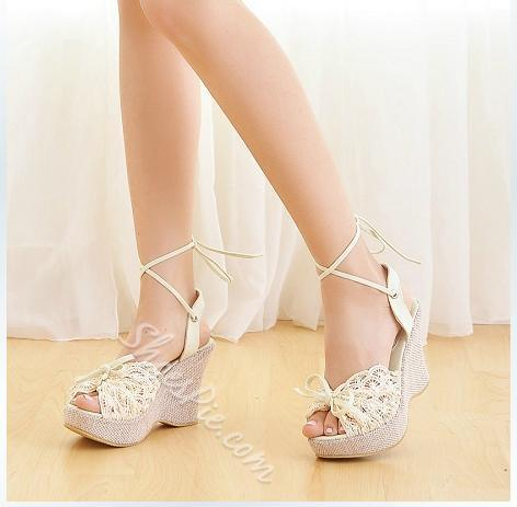Hot Selling Peep Toe Lace-Up Wedge Heel Sandals- Shoespie.com