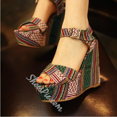 Amazing Ethnic Style Contrast Colour Wedge Heel Sandals