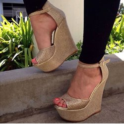 Gorgeous Golden Coppy Leather Wedge Sandals