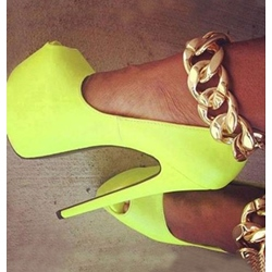 Gorgeous Yellow Coppy Metal Chain Ankle Strap Platform Shoes
