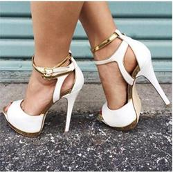 Precious Coppy Leather Cut-Outs Dress Sandals
