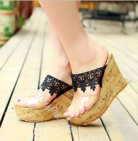 Cute Lace Wedge Heels Platform Girl Sandals Slippers- Shoespie.com