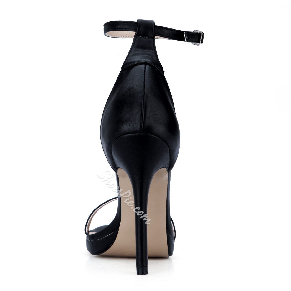 Shapely Black PU Ankle Strap Dress Sandals