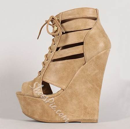 Fashionable Brown Coppy Leather Cut-Outs Wedge Sandals