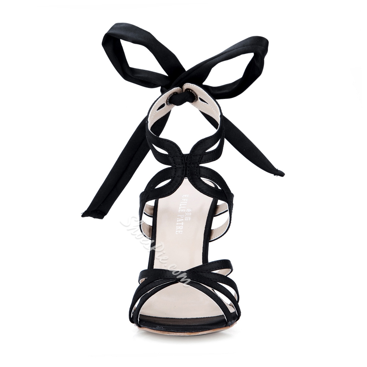 Mysterious Black Suede Cut-Outs Lace-up Bowknot Dress Sandals