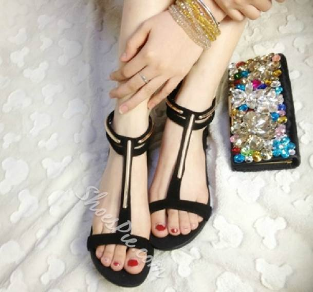 Fashionable Black PU Metal Ankle Strap Flat Heel Sandals