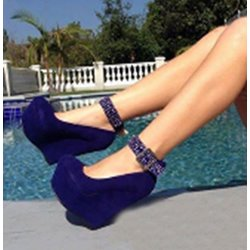 Shoespie Blue Ankle Wrap Wedge Heels