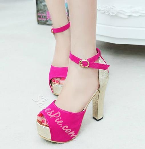 Fashionable Contrast Colour PU Chunky Heel Sandals