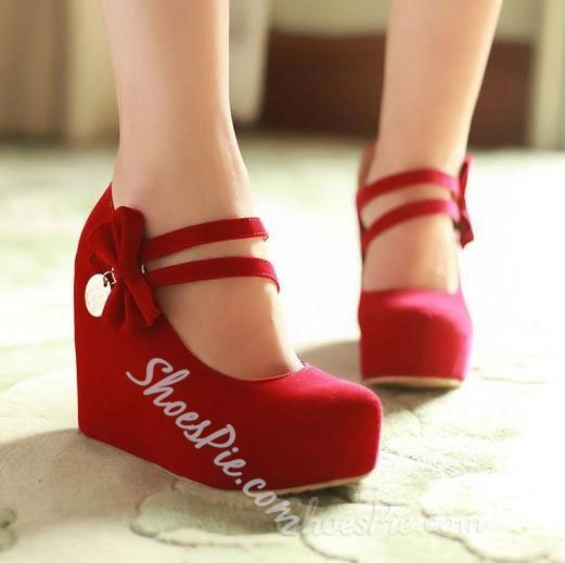 Shoespie Sweet Nubuck Amazing Bowtie Wedge Heels