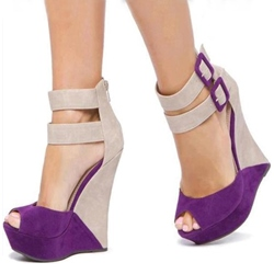 Brilliant Suede Duo Color Buckles Peep Toe Wedge Sandals