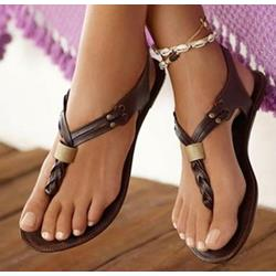 Shoespie Courtlike Coppy Leather Clip toe Flat Sandals