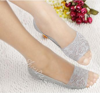 Hot Selling Lace Flower Print Peep-Toe Ship Sock
