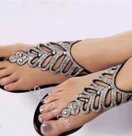 Shoespie Rhinestone Black Ankle Strap Flat Sandals