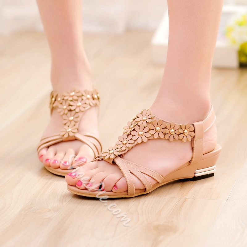 Perfect Flower Strap Wedge Heel Sandals - Three Colors