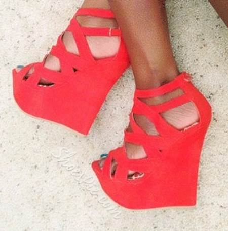 Shoespie Perfect Cut-Outs Coppy Leather Ankle Strap Flat Sandals