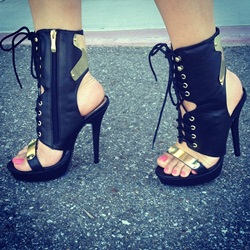 Popular Contrast Colour PU Lace-Up Platform Sandals