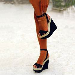 Shoespie Awesome Contrast Colour PU Wedge Sandals